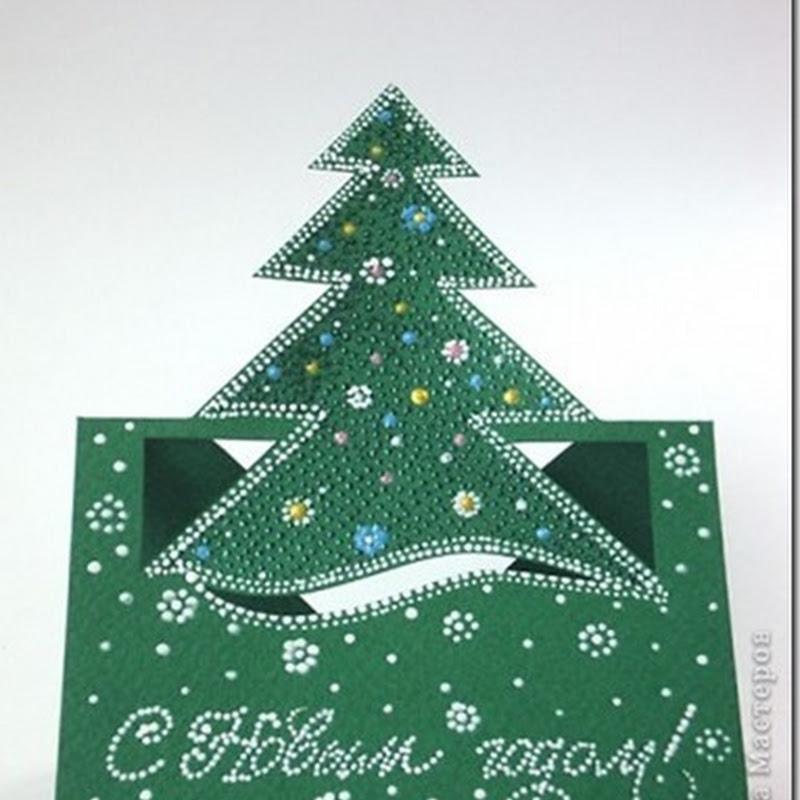 Manualidades tarjeta navidad árbol