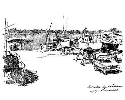 Tegning af Jørgen Brendekilde - Herslev Lystbådehavn, 1980