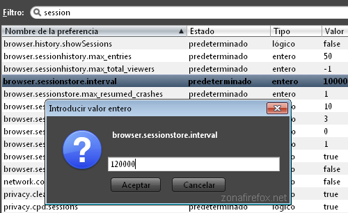 Cambiar el intervalo de guardado de sesión en Firefox
