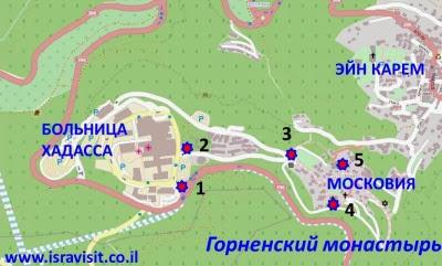 Карта – схема проезда в Горненский монастырь. Экскурсия в Горненский монастырь.  Гид в Израиле Светлана Фиалкова.