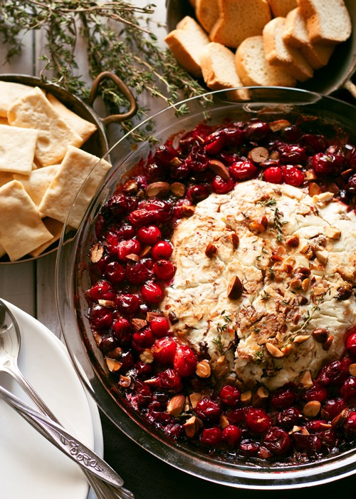 Baked goat cheese roasted cranberry appetizer