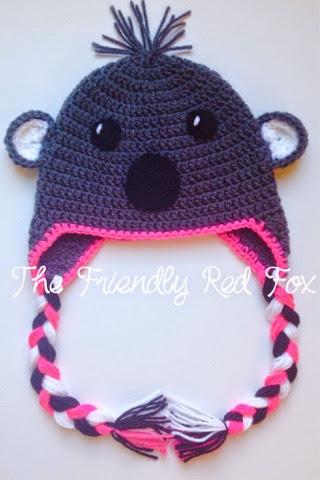 Koala Bear Crochet Hat Pattern - The Friendly Red Fox
