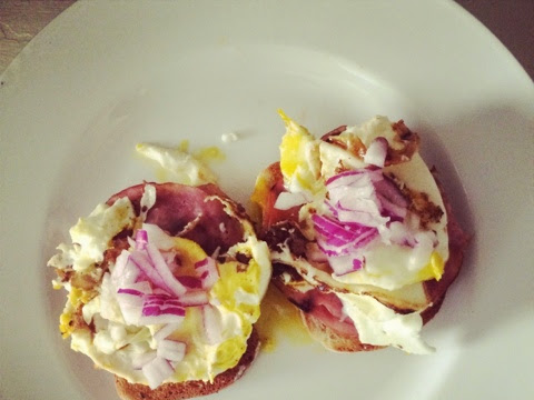 Smashed Eggs with Crispy Ham on Toast