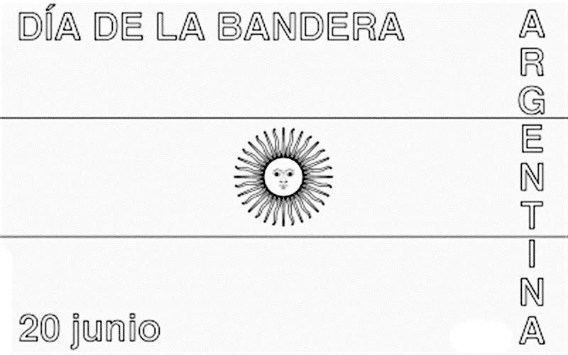Día de la bandera de Argentina para colorear 20 de junio para colorear