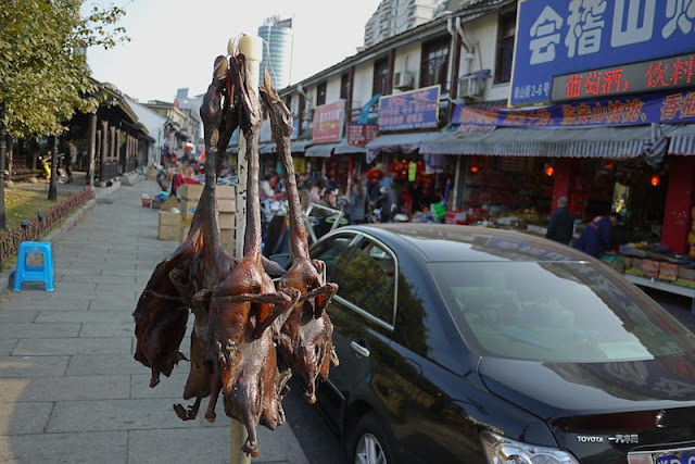 dead ducks hanging at Xiaoshan Street in Shaoxing, China