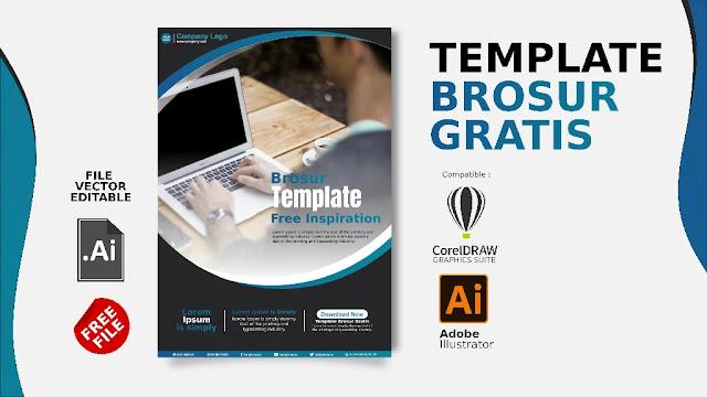 Download Brosur Dengan CorelDraw Biru Elegant