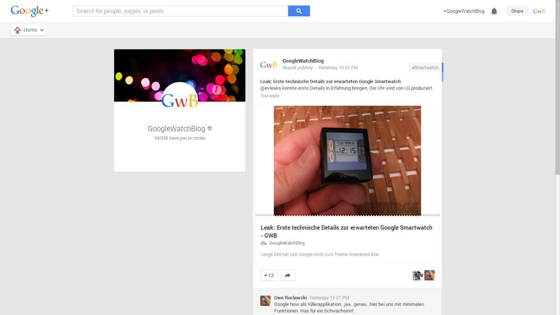 Google+ Neue Darstellung