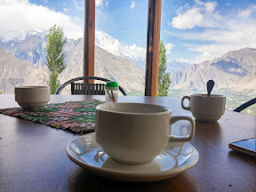 Breakfast at Eagle's Nest Hotel, Duikar, Hunza.