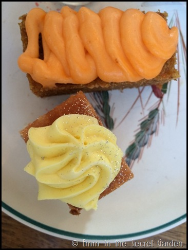 Carrot cake and lemon cake at the Secret Garden Kent