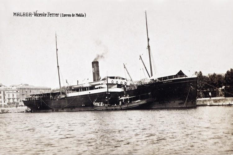 3- El VICENTE FERRER en Malaga. Ca. 1913. Foto Museo Maritimo de Barcelona. Remitida por Laureano Garcia. Nuestro agradecimiento.jpg