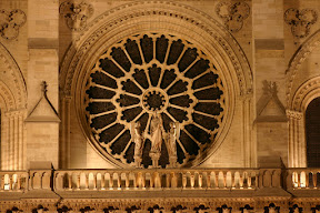 The west Rose Window at night