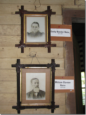 Pictures of William Thomas and Emily (Rencher) Bates on the wall of the Bates homestead