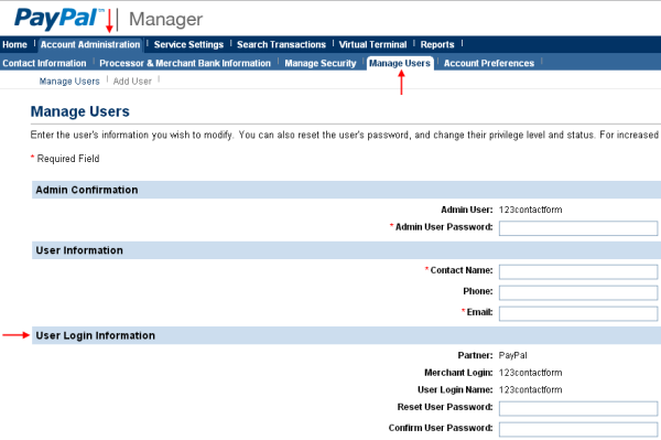 PayPal Manager - User Information