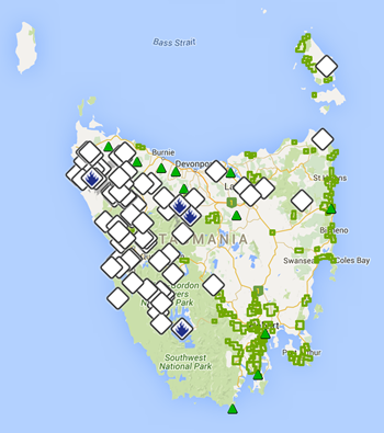 Map of bushfires in Tasmania, 2 February 2016. Graphic: Tasmania Fire Service