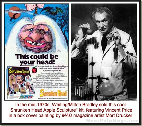 Shrunken Head Apple Sculpture ad with Vincent Price