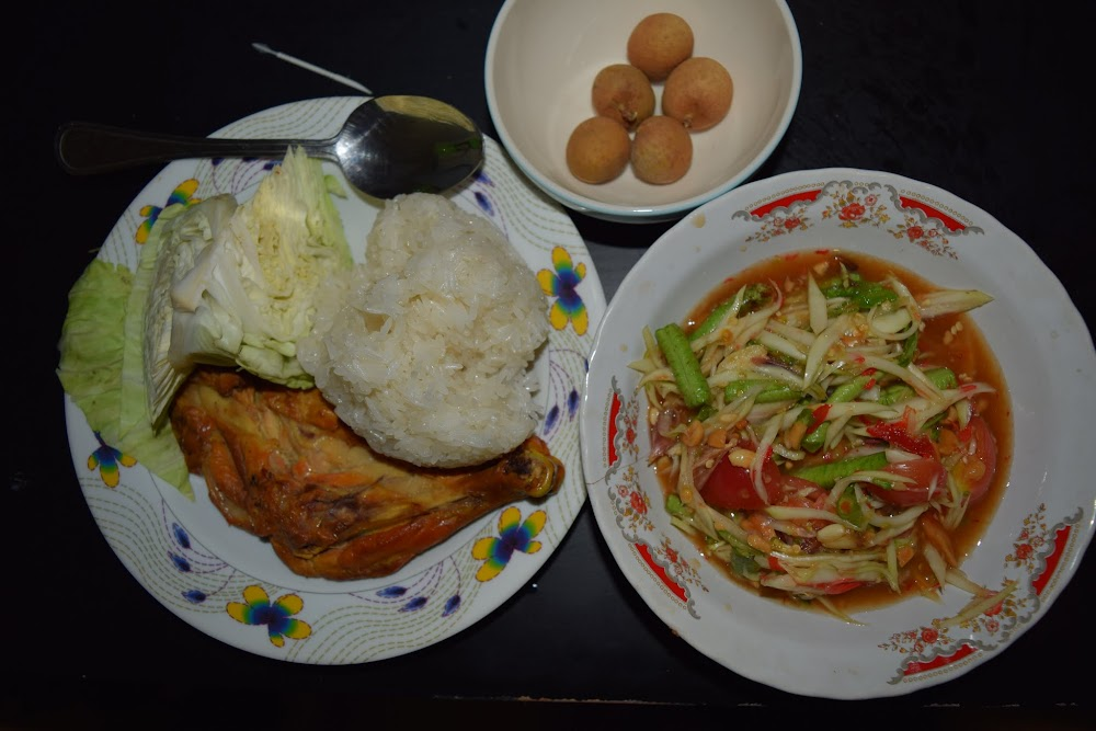 I'm loving the Thai food again, of course!!!!!  It's so nice to be able to have my beloved som tam (papaya salad) with sticky rice and chicken, and longam fruits... this whole meal cost less than 2 dollars!