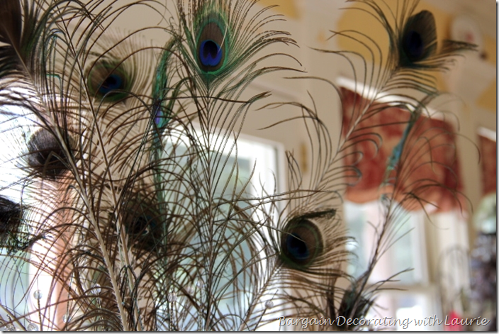 Peacock Feathers in Centerpiece for Fall Table