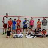 2014 Kidsquash Tournament Players and Coaches after the finals/round robins on 3/29/14
