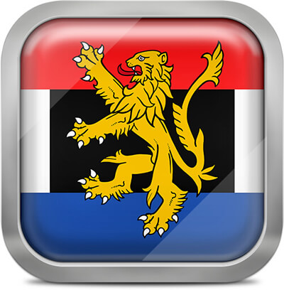 Benelux square flag with metallic frame