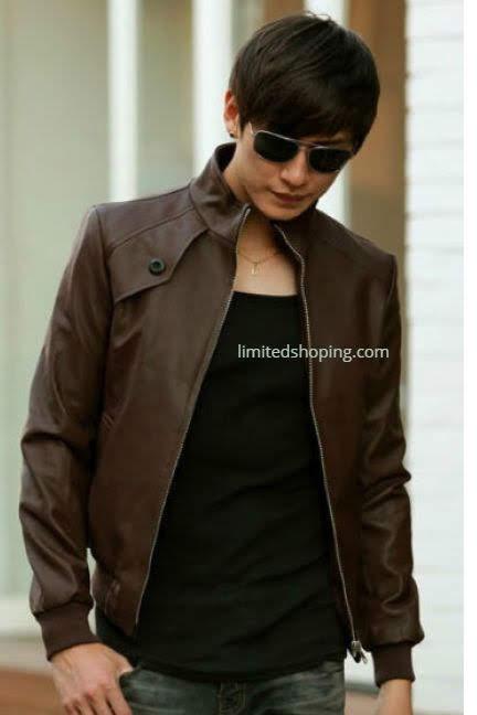 limited shoping jaket kulit cokelat lelaki masa kini
