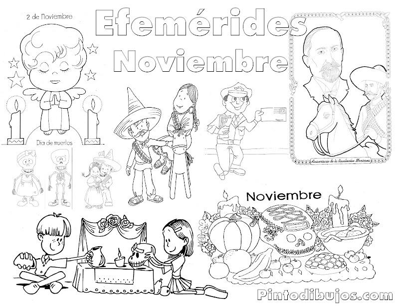 Efemérides Noviembre para colorear