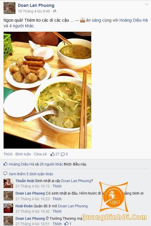 Ý kiến khách hàng về món ăn tại Quảng Bình Ơi