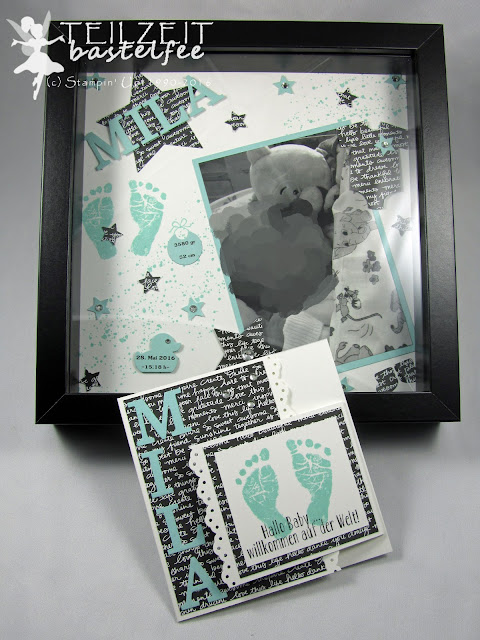 Stampin' Up! - Baby, Geburt, Birth, Girl, Mädchen, Something for Baby, Babyglück, Baby Prints, Baby Bear, Unentbärliche Grüße, Bordürenstanze, Sizzix Junior Alphabet, Framelits Baby's First, Layout