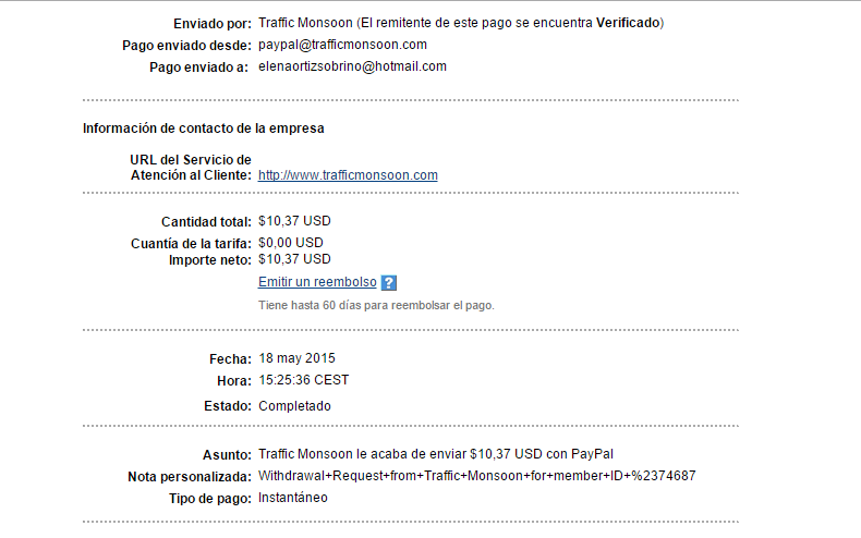 comporbante de pago de trafficmonsoon