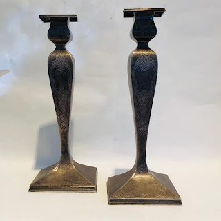 "Sterling Silver 12"" Candlestick Pair"