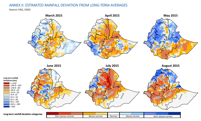 Estimated rainfall deviation from long-term averages in Ethiopia, March 2015 - August 2015. Graphic: FAO