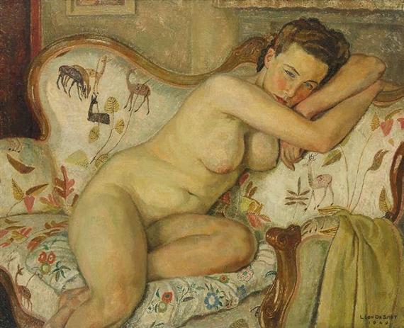 Leon De Smet – Nude in couch