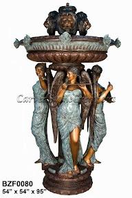 Angel, Bronze, Fountain, Lion Head, Musician, Statue