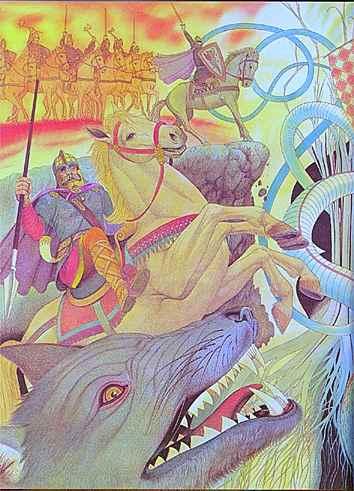 Odin Opposes Fenrir At Ragnarok, Asatru Gods And Heroes