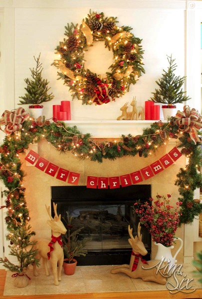 Rustic christmas mantel with plaid and red