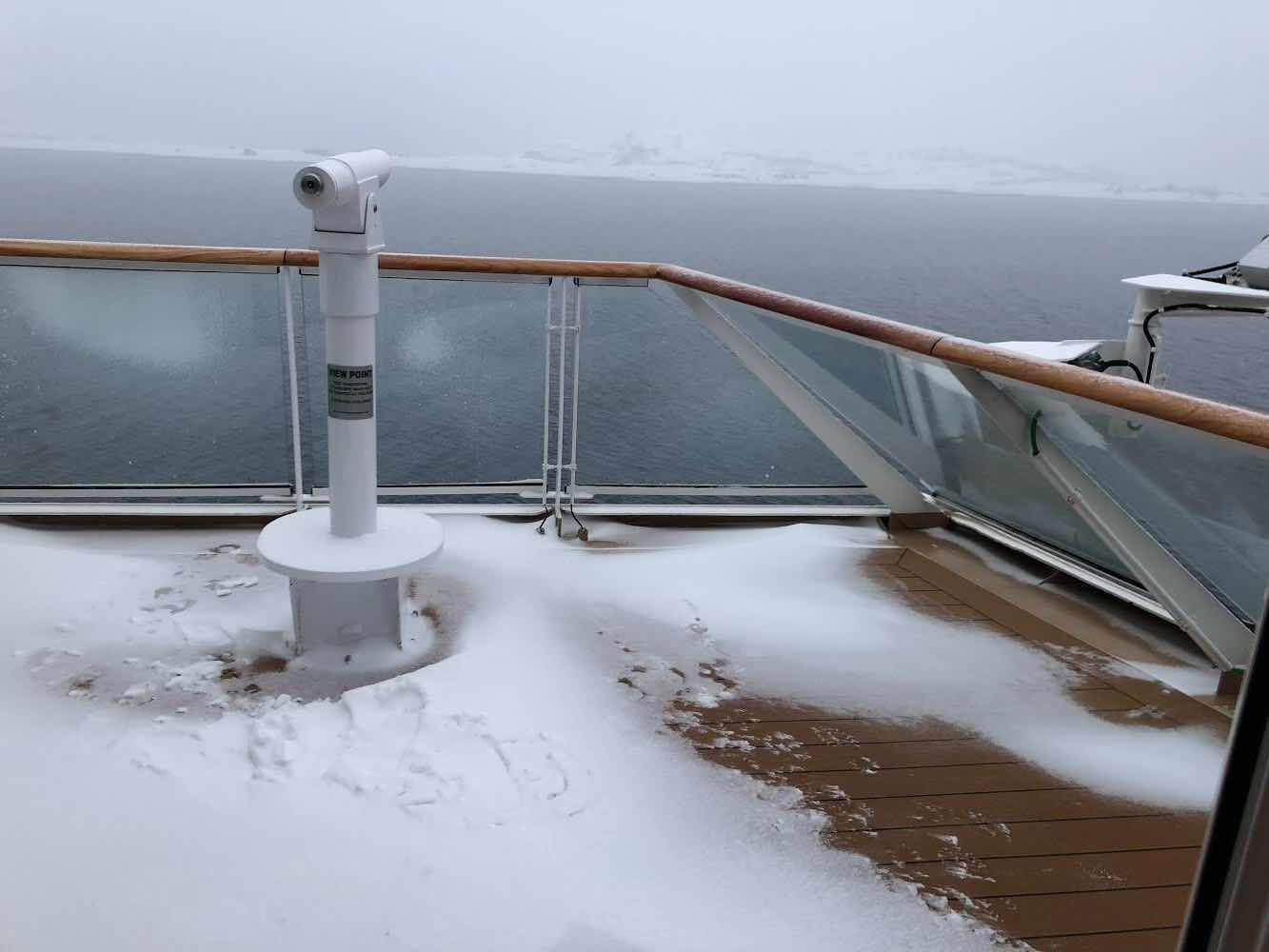 Snow on deck of the Viking Sky as we approach the Arctic Circle (Source: Palmia Observatory)