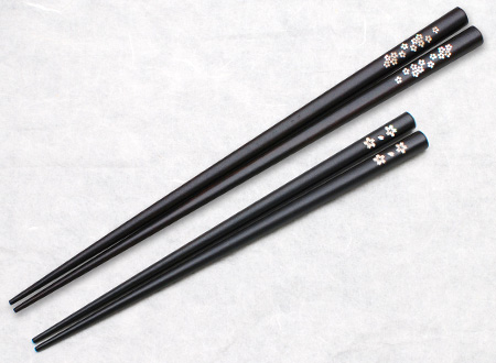 Kai-zogan Shell-inlaid Ebony Chopsticks - Short