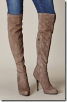 Karen Millen Taupe Stretch Suede Over the Knee Boot