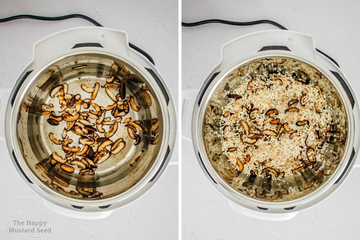 Top view of mushrooms cooking in Instant pot with arborio rice