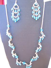 blue crystal with chandelier earring $12.00