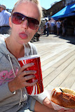 """Isabell with a Coke and """"clam chowder"""", a very tasty clam soup (© 2010 Bernd Neeser)"""