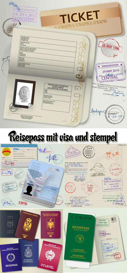 Stock: Passport with visas and stamp