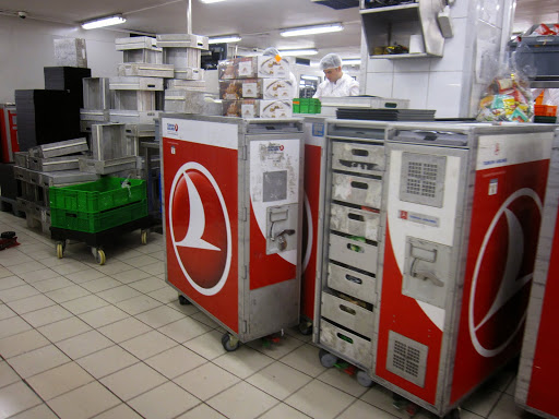 Filling the food carts with meals for Turkish Airlines