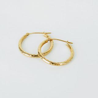 14K Gold Hammered Hoop Earrings