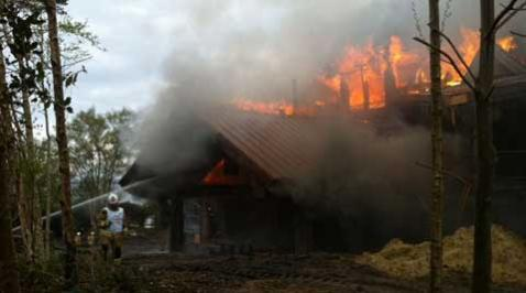 20 April 2012 - The devastating fire of the 6-bedroom property at Green Island. Photo: Dorset Fire and Rescue
