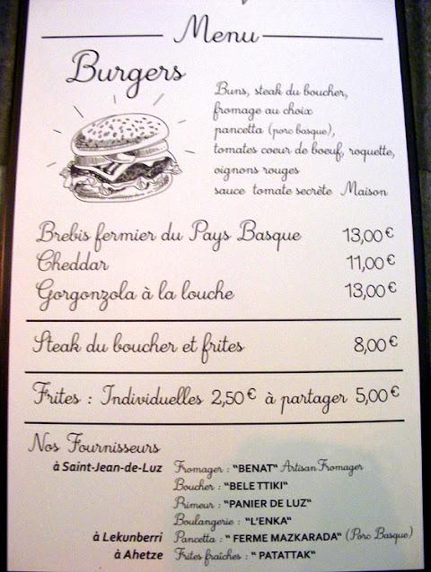 Burger menu at Le Garage, Saint Jean de Luz, Pyrenees-Atlantiques, France. Photo by Loire Valley Time Travel.