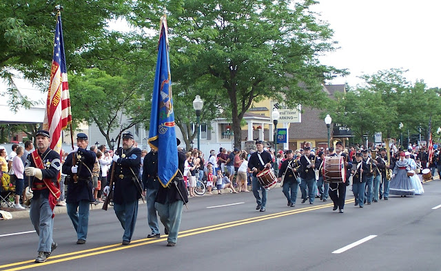 5th MI marches down Main Street in Plymouth MI