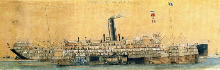 3-Diagrama del REINA VICTORIA EUGENIA, mostrando los distintos servicios y departamentos. Editado por el Museu Maritím de Barcelona.JPG