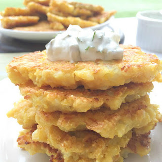 Cauliflower Cakes With Feta And Dill Pickle Sauce.