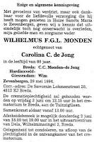Monden, Wilhelmus F.G.L. Rouwadvertentie.jpg