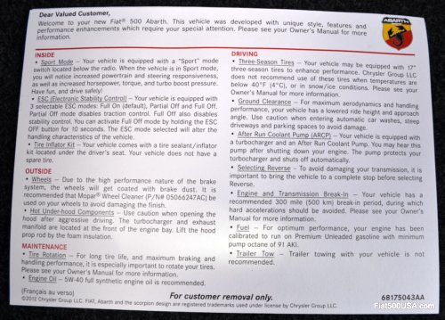 US Fiat 500 Abarth owners information card